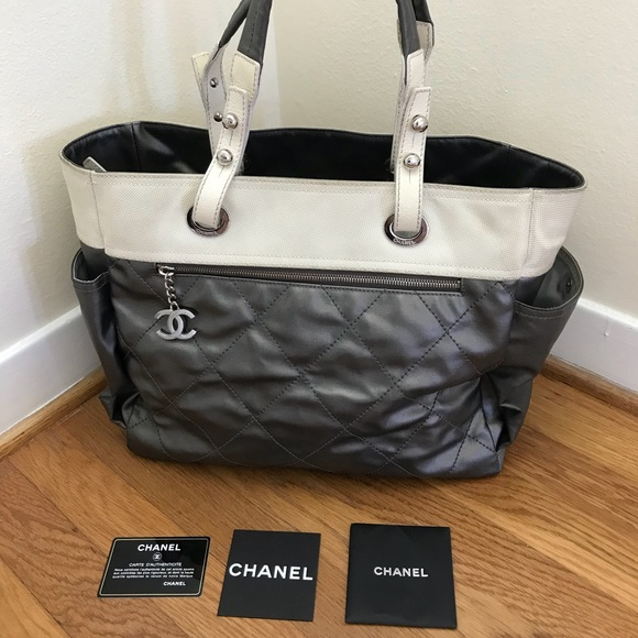CHANEL Bags   Metallic Coated Canvas Parisbiarritz Tote   Poshmark dcd4c6e469